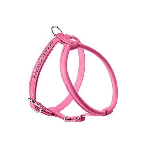 HUNTER Modern Art Round & Soft Petit Luxus - Arnés para Perro de Piel sintética con Brillantes 45, Color Rosa