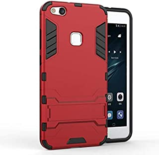 Huawei P10 Lite -Shockproof Kickstand TPU Hybrid Back Case Cover -Red