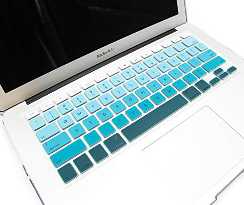 """KZIK Faded Ombre Color Keyboard Cover Soft Silicone Skin for 2015 or Older Model MacBook Pro 13"""" 15"""" and MacBook Air 13"""" (Not Fit for 2016-2018 New MacBook Pro 13 15) USA Layout - Gradient Green"""
