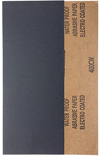YoiYee 400 hojas de papel de lija en seco y húmedo, 23 x 9,5 cm, papel de arena súper fino para madera, metal, plástico, vidrio, piedra y lijar de pared, 10 unidades