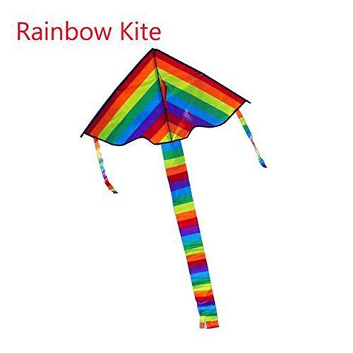 MEICHEN Colorido Rainbow Kite Cola Larga Nylon Cometas al Aire Libre Juguetes voladores para niños Niños Truco Kite Surf Sin Barra y línea de Control,30mKiteLineRainbow