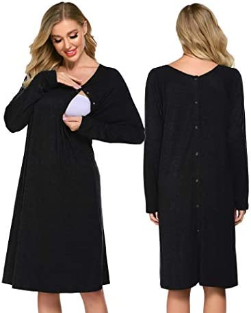 Ekouaer Womens Hospital Gown for Labor and Delivery Long Sleeve Birthing Robe Button Down Nursing product image
