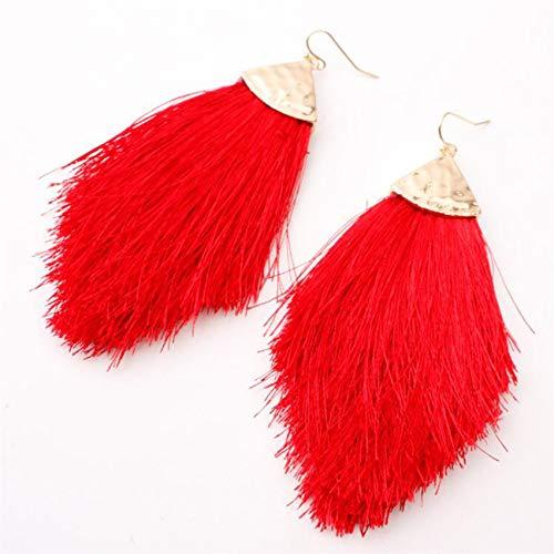 LPOQW Pendientes de borla de flecha de algodón para mujer, pendientes elegantes y elegantes, para mujeres, accesorios de San Valentín, color rojo