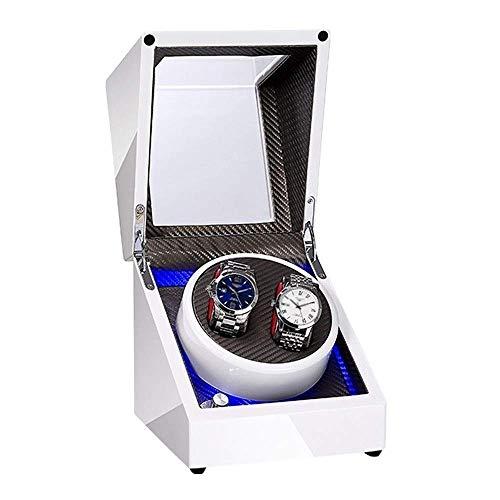 ZCYXQR Caja enrolladora de Reloj Doble Blanca para Reloj automático Luz LED incorporada Pintura de Piano Exterior Fuente de alimentación Dual Motor silencioso