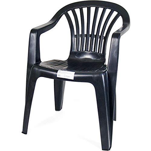 Acan Silla Resina con reposabrazos Color Negro