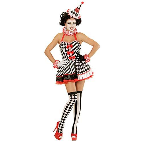 Amakando Tolle Pierrot Overknee-Strümpfe mit Schachbrett- & Streifen-Muster / Schwarz-Weiß 70 DEN / Überkniestrümpfe Zirkus-Clown für Frauen / Perfekt geeignet zu Mottoparty & Kostümfest