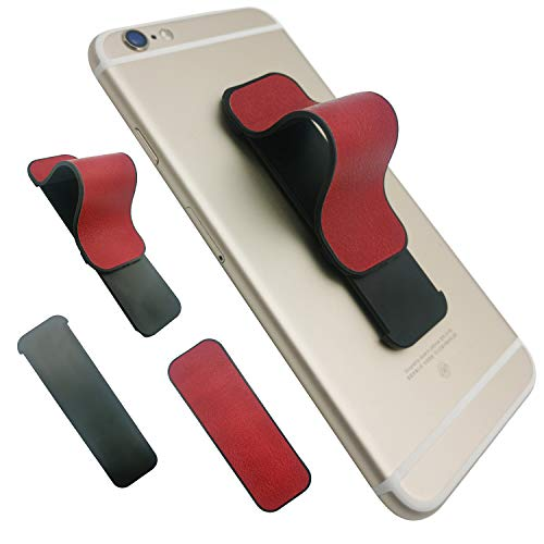 Finger Strap Phone Holder, AOLIY Cell Phone Grip Stand for iPhone Android Smartphone Mini Tablet Car Vent Holder (PU - Red)
