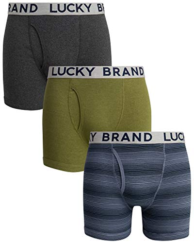 Lucky Brand Men's Cotton Boxer Briefs (3 Pack), Charcoal/Grey/Olive, Size Large'