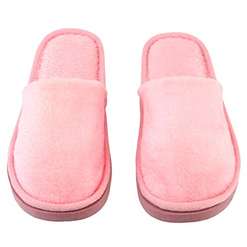 Rendeyuan Plantilla de Goma Transpirable Felpa Interior Casa Casa Mujeres Hombres Inicio Zapatos Antideslizantes Suela Suave Algodón cálido Zapatillas silenciosas para Adultos - Rosa - 38-39