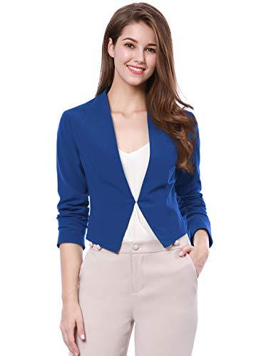 Allegra K Chaqueta Corta De Mujer Sin Collar para Trabajo Oficina Negocio Informal Azul XS