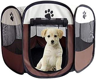 Mumoo Bear Brown Fabric Pet Play Pen Folding Pet Dog Cat Rabbit Pig Playpen Pet Kennel Cage, Medium