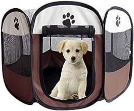 Brown Fabric Pet Play Pen Folding Pet Dog Cat Rabbit Pig Playpen Pet Kennel Cage, Big