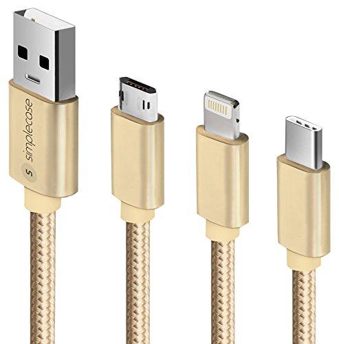 Simplecase BU-0007-0032 Premium oplaadkabel met hoogwaardige mantel en metalen stekkers, 1m goud nylon