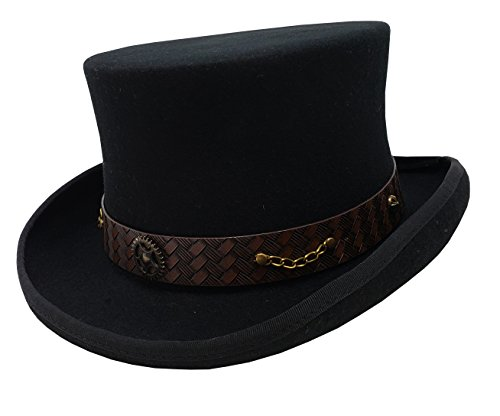 100% Wool Victorian Western Steampunk Costume Top Hat with Leather Band and Chain (2XL, Black)