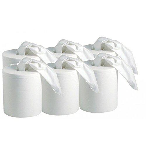 Carton de 6 bobines d' essuie tout blanc 450 feuilles deroulable ou central