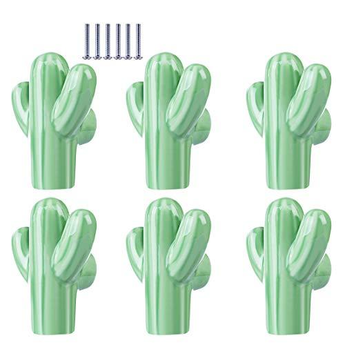 Batop 6Pcs Möbelknöpfe Kinderzimmer, Kaktus Form Kinder Möbelgriff Möbelknöpfe Schrankgriffe Türknöpfe Schrankknöpfe Griff Knopf, 50x43x23mm