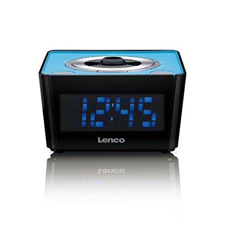 Lenco Radiowecker CR-16 Blue mit Funkuhr mit PLL FM Tuner, Projektionswecker inkl. Fokus, LED-Display, Radiowecker mit 2 Weckzeiten, Dual Alarm, Sleeptimer, Schlummerfunktion, Dimmer, Kalender