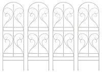 フェンス アイアンフェンス 幅54cm 高さ183cm ガーデン ーデニング 立てかけ 庭 ベランダ 枠 柵 仕切おしゃれ 北欧 上下分割式 (ホワイト, 4枚組)