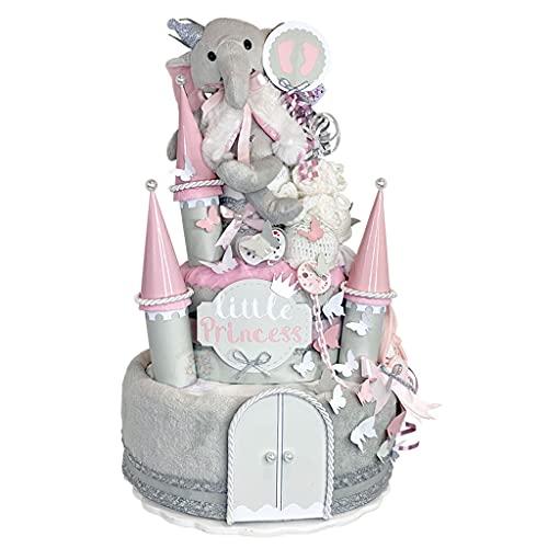 MomsStory – Tarta de pañales para niña   Cierre de pañales y elefante   Regalo de bebé para nacimiento, bautismo, baby shower   3 pisos (gris-rosa) XXL grande   con peluche de gasa chupete y mucho más