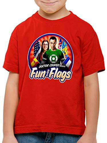 CottonCloud Fun wih Flags Camiseta para Niños T-Shirt Sheldon Bandera Bandera Nacional pabellón Amy, Color:Rojo, Talla:140