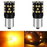 Paquete de 2-1056 BAU15S 7507 12496 PY21W RY10W Ámbar/amarillo Sin polaridad Código de error de Canbus LED libre Luz de intermitencia Bombilla intermitente