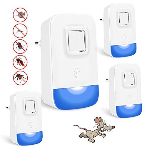 Hospaop Repelente Ultrasonico - 4 Pack, Repelente Mosquitos Ultrasonido, Electrónico Repelente de Insectos,Control de Mosquitos Interiores para Cucarachas,Roedores,Moscas,Hormigas, Arañas,Ratones
