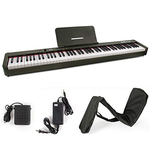 Digital Piano,Horse 88 Keys Fully Weighted Eectric Piano Keyboard Built-in Speaker with Sustain Pedal Music Sheet and Power Supply for Hobbyists and Beginners