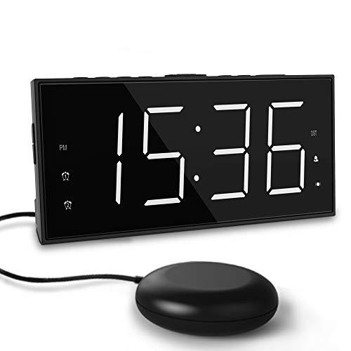 ROCAM Super Loud Alarm Clock for Heavy Sleeper,Strong Bed Shaker Alarm Clock for Bedrooms,Battery Backup,Large LED Display,Snooze,Deaf Deep Hard of Hearing (White Number Bed Shaker Clock)