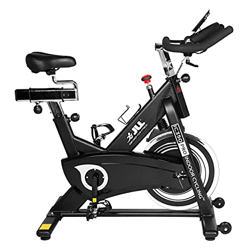 JLL® IC350 PRO Indoor Bike, Direct Belt Driven Exercise Bike For Home, 15lbs Advanced Flywheel, Friction Resistance, Monitor, Heart Rate Sensors, Adjustable Seat, 12 Months Domestic Warranty