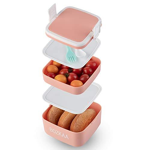 BOZKAA Lunch Box, 2-teiliges Besteck, Praktische Brotdose für den Transport von Mahlzeiten, Geeignet für Mikrowelle und Geschirrspüler, Bento Box Kinder (Rosa)