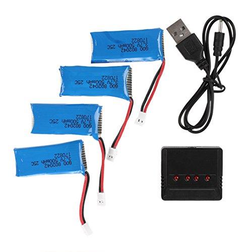RC Quadcopter Kit de Charge - SODIAL(R)3.7V 500mAh Batterie pour Hubsan X4 H107L H107C H107D RC Quadcopter (4PCS) avec 4 en 1 X4 Chargeur de batterie, Bleu