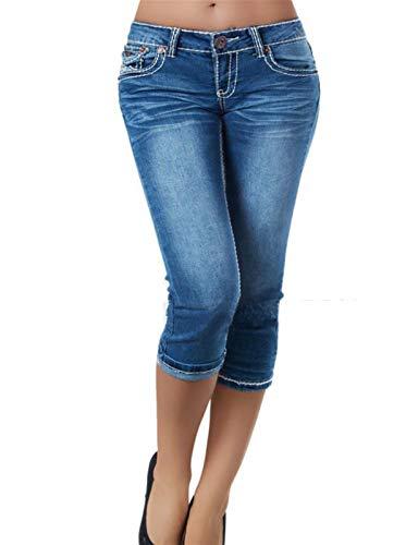 JUNMIN Pantalones recortados de Denim Ladies adelgazando Jeans Informales Simples (Color : Blue, Size : Large)