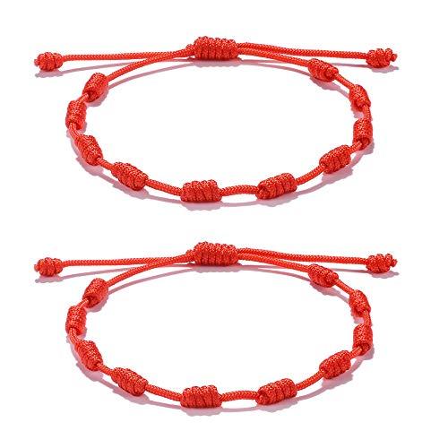 VU100 2PCS Rojo Nudos  Pulseras Amuleto Ajustable para El Éxito Cabalá  Buena Suerte  Pulsera De Protección para Hombres, Mujeres