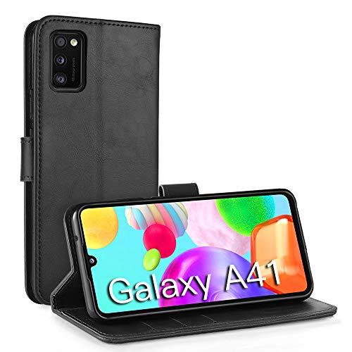 Simpeak Hülle Kompatibel mit Samsung Galaxy A41 [6,1 Zoll], Handyhülle Kompatibel für Samsung A41 Flipcase Leder [Kartensteckplätze] [Stand Feature] [Magnetic Closure Snap] - Schwarz