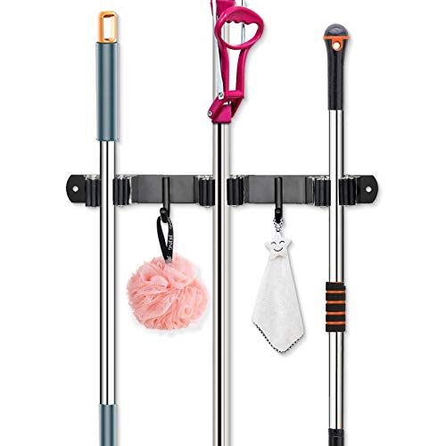 Huryfox Broom and Mop Holder Wall Mounted Adjustable Garage Organizer with Utility Hooks Garden Tool Hanger Heavy-Duty Stainless-Steel Racks Cleaning Supplies for Kitchen/Laundry/Pantry/Bathroom (3 racks 2 hooks)