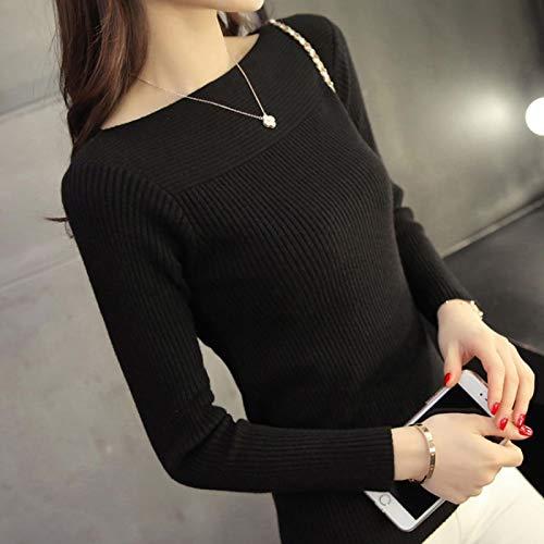 Moda Sudaderas Jersey Sweater Suéter De Punto De Otoño De Manga Larga Informal Suéteres De Mujer Suéteres De Estilo Coreano De Invierno De Punto Blanco Delgado L Negro