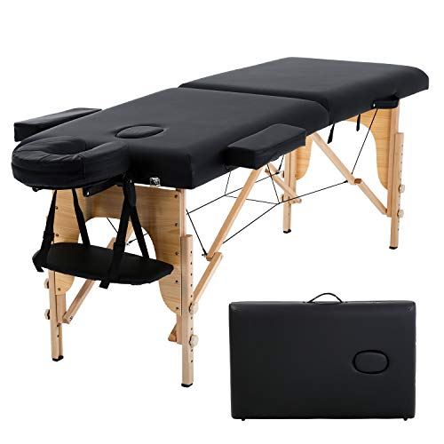 HCB Portable Massage Table SPA Massage Bed Foldable 73  Adjustable Height 2 Folding SPA Salon Bed 450 LBS Capacity Carrying Case with Dust Bag (Black)