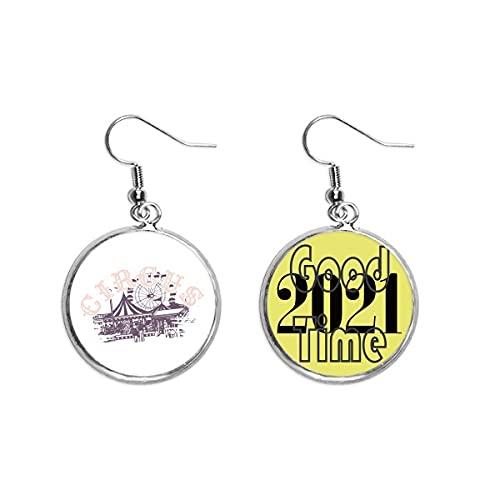 Boucles d'oreilles pendantes motif Circus Amusement Park 2021 porte-bonheur