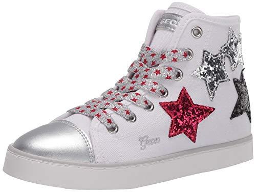 Geox Jr Ciak Girl D, Zapatillas Altas Niñas, Blanco (White/Silver C0007), 31 EU