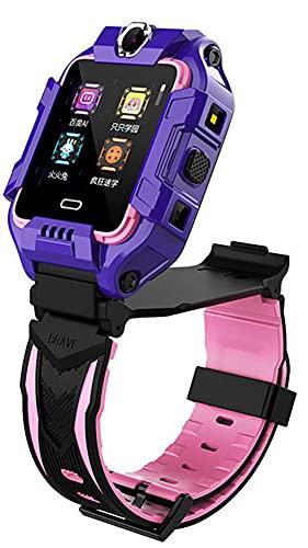 X&Z-XAOY Reloj Inteligente para Niños Rastreador De Actividad Física Posición GPS Girar Cámaras Duales Videollamada SIM 4G LTE Pulsera Inteligente A Prueba De Agua IP68 para Niños (Color : Purple)