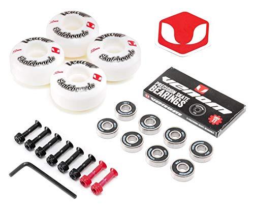 Rodamientos y ruedas Venom para tabla de skate, ABEC 11, blanco