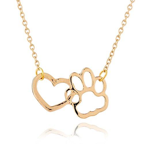 Collar Selia de Corazon con Huellas de Perro / Colgante Lucky Dog /Cadena de Perro con Suerte Estilo...
