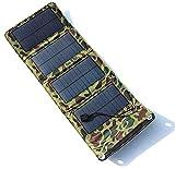 ZSPSHOP Cargador Solar Portátil 7W USB Impermeable Al Aire Libre con 4 Paneles Solares Plegables para Acampar Viaje Smartphone Tablet Cámara Powerbank