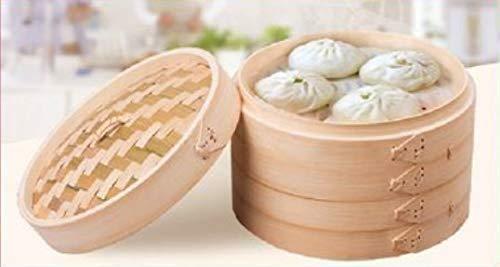 Vaporera de bambú con tapa para cocinar al vapor. Cesta de bambú para cocer todo tipo de alimentos al vapor (20x6cm 2pcs)