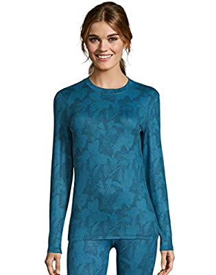 Hanes Womens 4-Way Stretch Thermal Crewneck, L, Teal Combo by Hanes