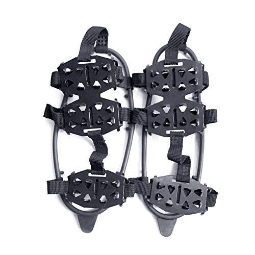 Zapato Bota Grapas del Hielo de la Nieve Zapato de tracción de 24 Dientes Nieve Antideslizante crampones Negro M Tamaño de Zapatos Cubierta 1 Par