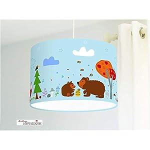 Deckenlampe mit Waldtieren Füchsen und Bären in Hellblau für Kinderzimmer und Babys