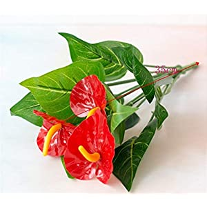 Fake Flower 12/18 Heads Artificial Flower Small Potted Plant Silk Suit Large Potted Anthurium Office Decoration Bonsai Home Decor Artificial Roses Flower (Color : Hong Zhang Small 35c)