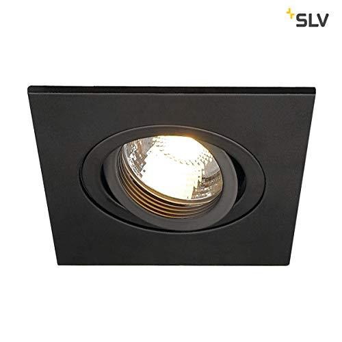 SLV LED Deckeneinbaustrahler NEW TRIA 78 XL I eckig, QPAR 51, GU10, single, CS, Clipfedern, matt schwarz, Einbauleuchte, Deckenstrahler, Deckenleuchte, schwenkbare Deckeneinbauleuchte, Indoor