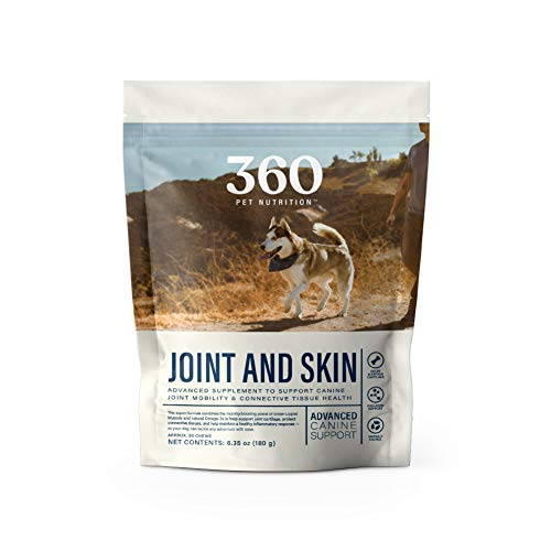 360 Pet Nutrition Advanced Canine Support Joint and Skin Health Supplement with Glucosamine, MSM and Green-Lipped Mussel